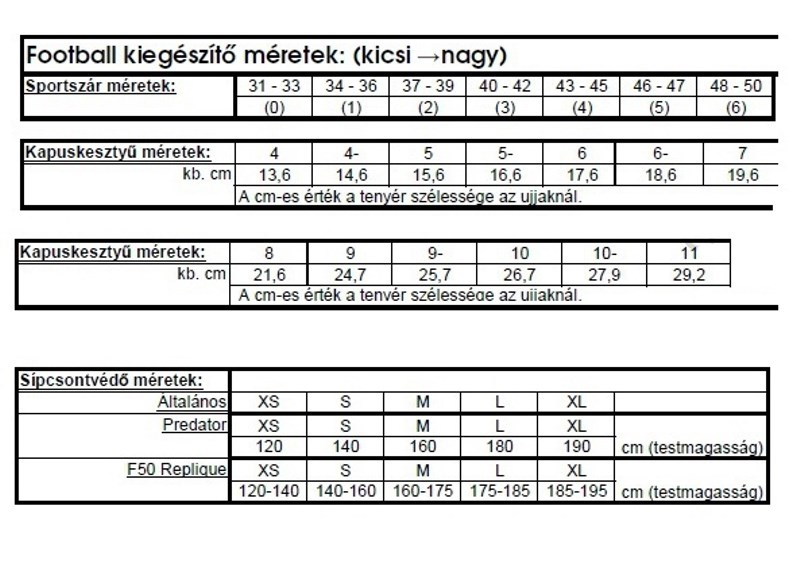 2fe28a72cb Méret táblázat   Sport ruha és cipő webáruház - GOOSport